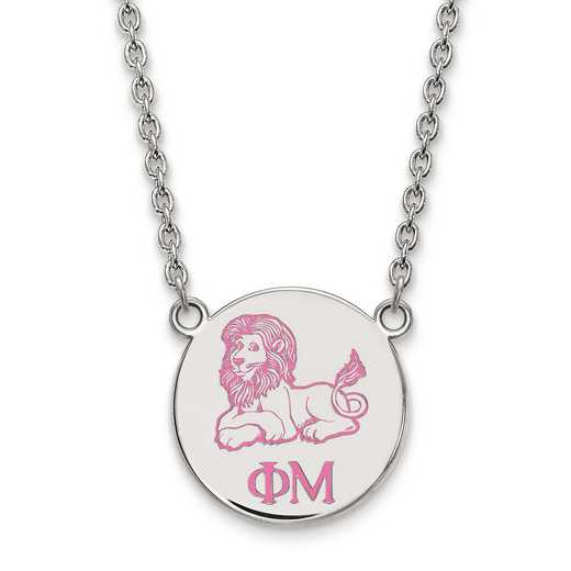 SS045PHM-18: SS LogoArt Phi Mu Small Enl Pend w/Necklace