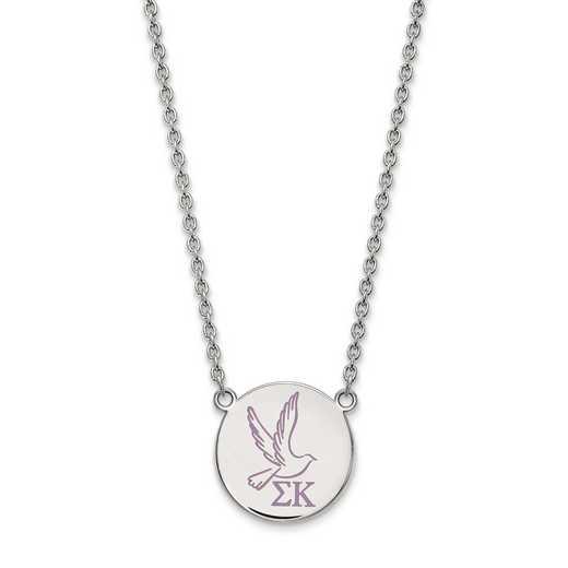 SS045SKP-18: SS LogoArt Sigma Kappa Large Enl Pend w/Necklace