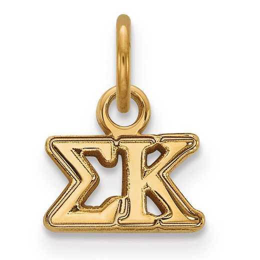 GP001SKP: Sterling Silver w/GP LogoArt Sigma Kappa XS Pendant