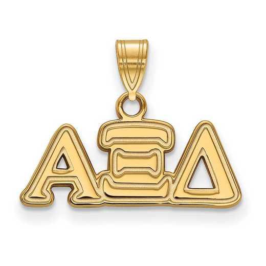 GP002AXD: Sterling Silver w/GP LogoArt Alpha Xi Delta Small Pendant