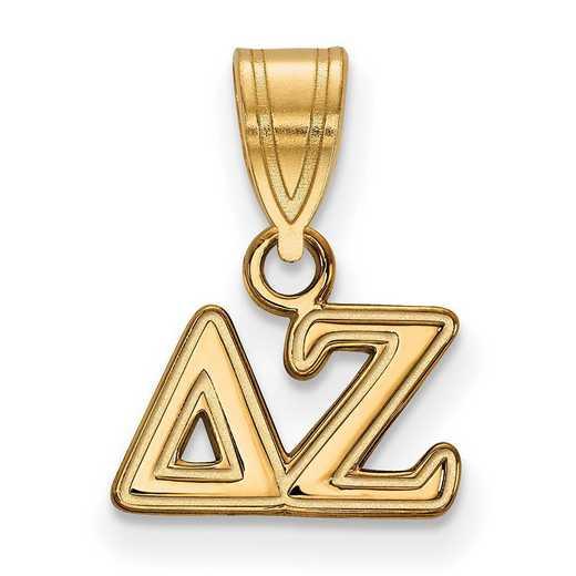 GP002DZ: Sterling Silver w/GP LogoArt Delta Zeta Small Pendant