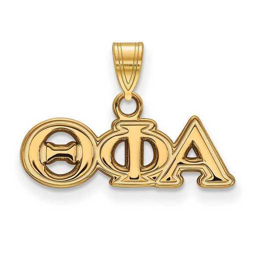 GP002TPA: Sterling Silver w/GP LogoArt Theta Phi Alpha Small Pendant