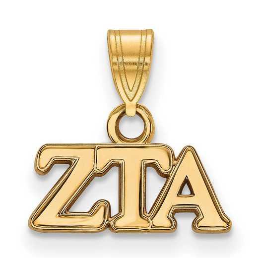 GP002ZTA: Sterling Silver w/GP LogoArt Zeta Tau Alpha Small Pendant