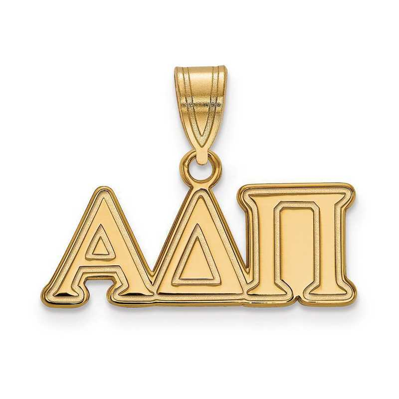 GP003ADP: Sterling Silver w/GP LogoArt Alpha Delta Pi Medium Pendant