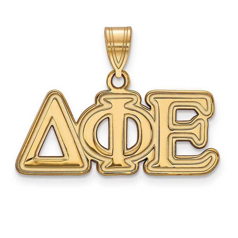 GP003DPH: SterlingSilver w/GP LogoArt Delta Phi Epsilon Medium Pendant