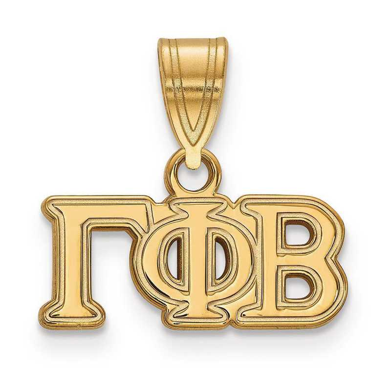 GP003GPB: Sterling Silver w/GP LogoArt Gamma Phi Beta Medium Pendant
