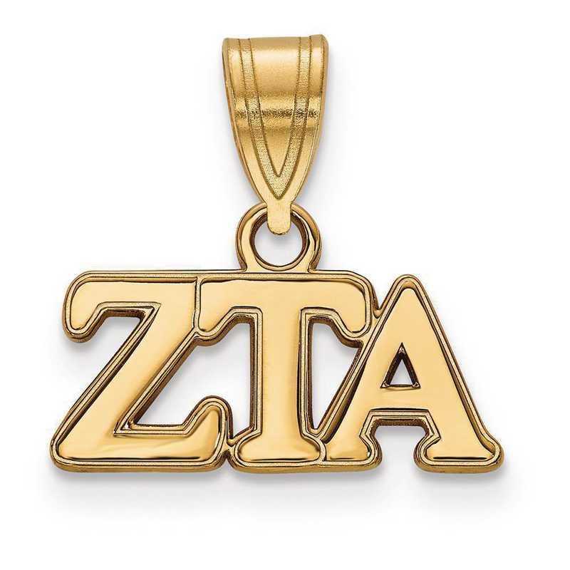 GP003ZTA: Sterling Silver w/GP LogoArt Zeta Tau Alpha Medium Pendant
