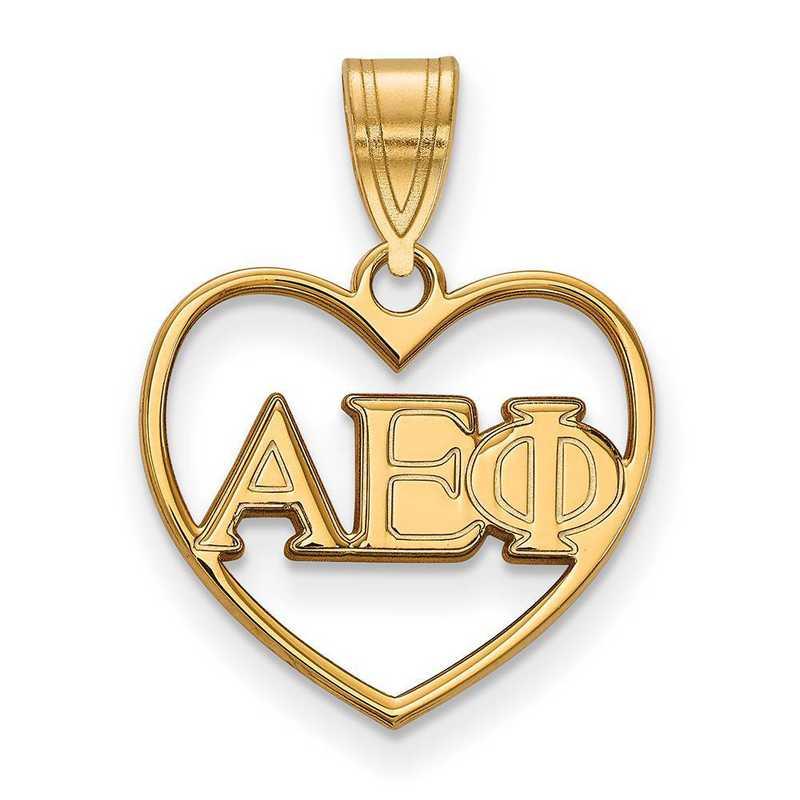GP008AEP: Sterling Silver w/GP LogoArt Alpha Epsilon Phi Heart Pendant