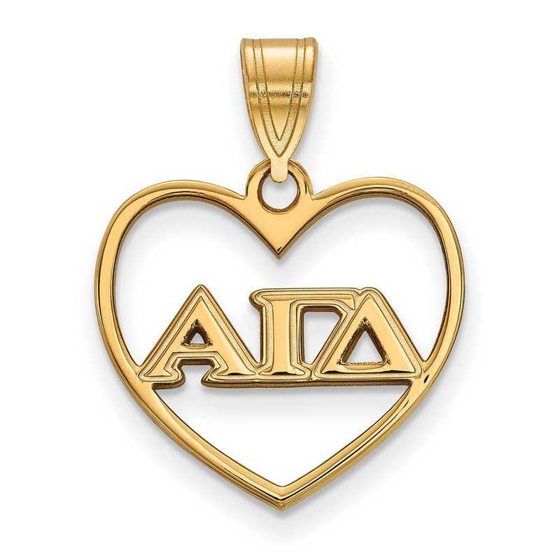 GP008AGD: Sterling Silver w/GP LogoArt Alpha Gamma Delta Heart Pendant