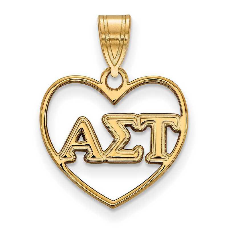 GP008ALS: Sterling Silver w/GP LogoArt Alpha Sigma Tau Heart Pendant