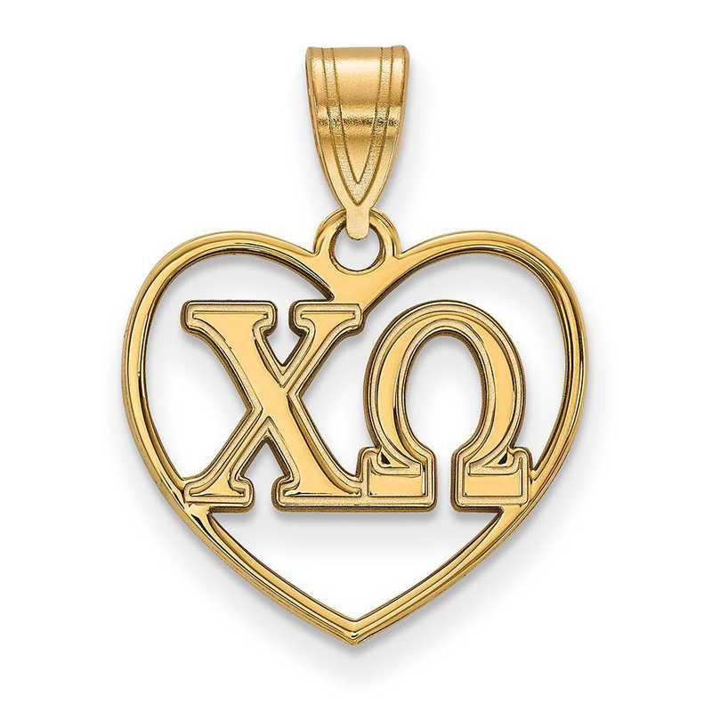 GP008CHO: Sterling Silver w/GP LogoArt Chi Omega Heart Pendant