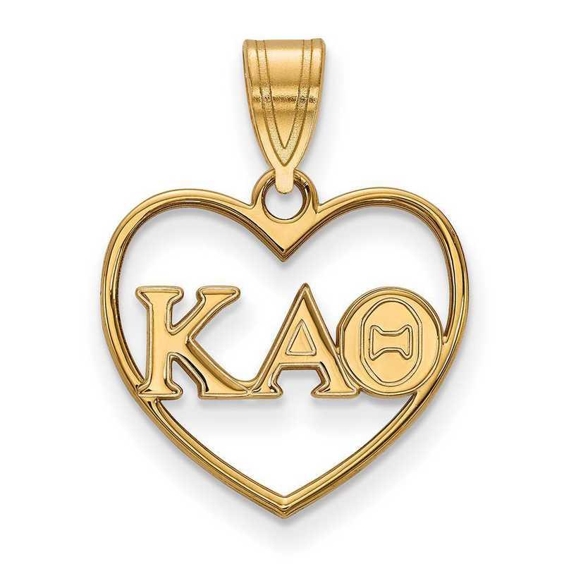 GP008KAT: Sterling Silver w/GP LogoArt Kappa Alpha Theta Heart Pendant