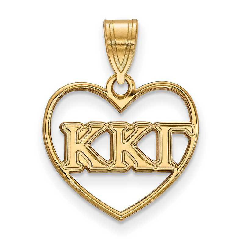 GP008KKG: Sterling Silver w/GP LogoArt Kappa Kappa Gamma Heart Pendant