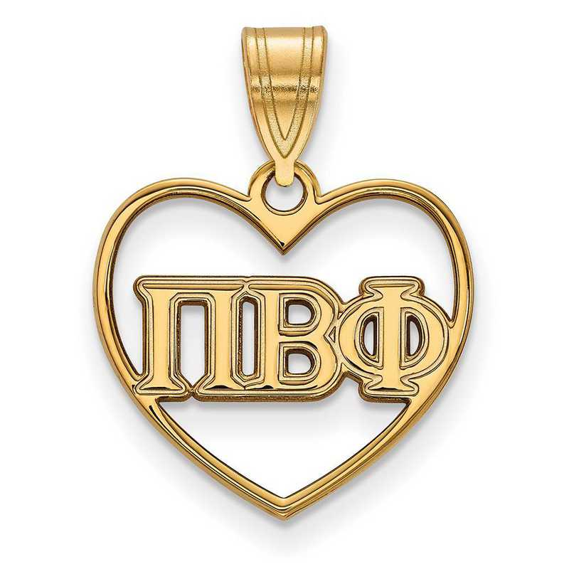 GP008PBP: Sterling Silver w/GP LogoArt Pi Beta Phi Heart Pendant