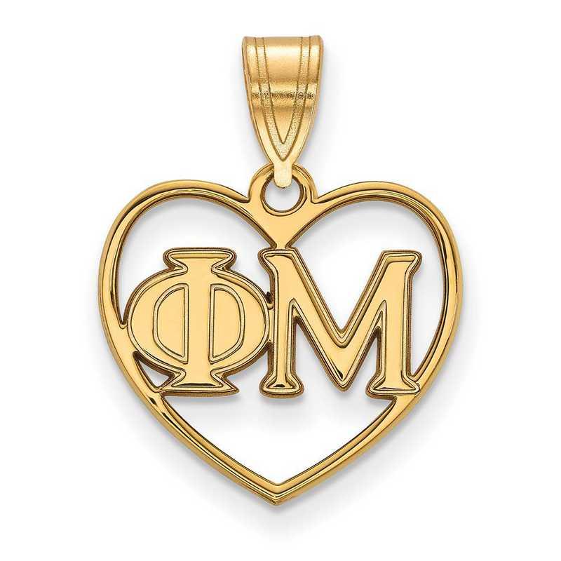 GP008PHM: Sterling Silver w/GP LogoArt Phi Mu Heart Pendant
