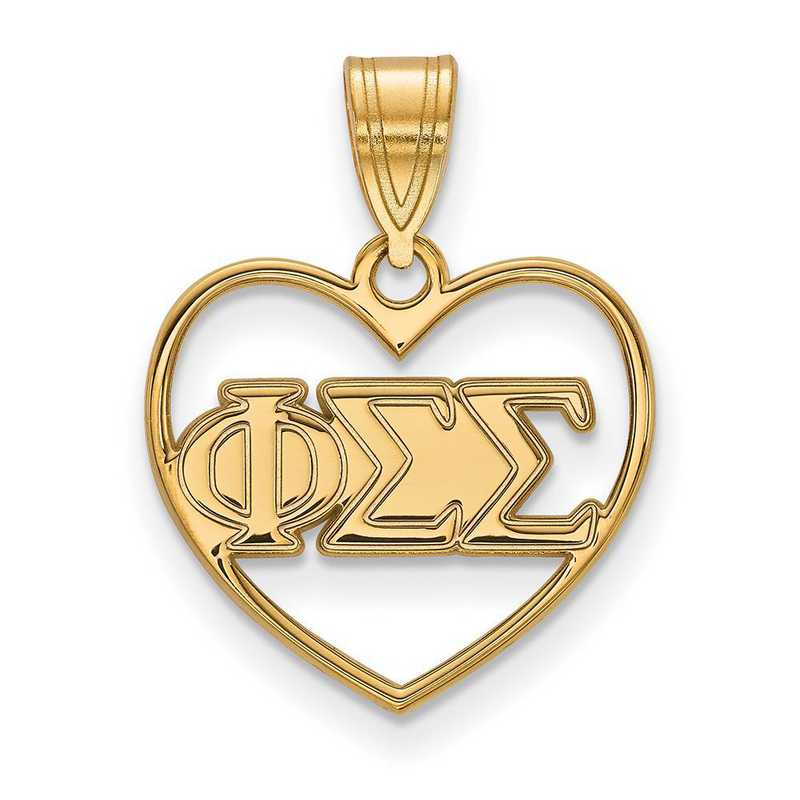 GP008PSS: Sterling Silver w/GP LogoArt Phi Sigma Sigma Heart Pendant