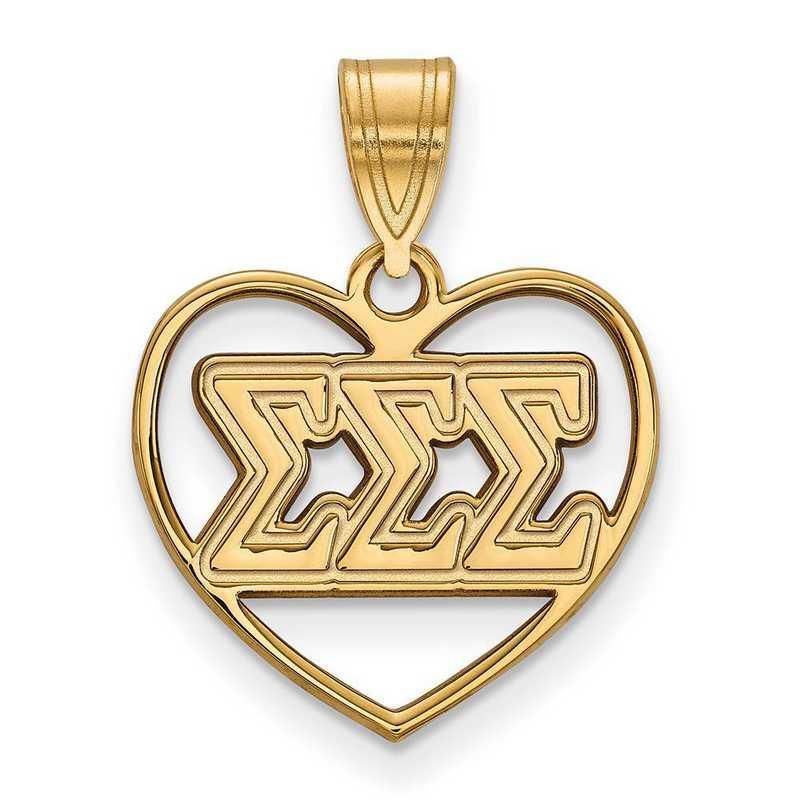 GP008SSS: Sterling Silver w/GP LogoArt Sigma Sigma Sigma Heart Pendant