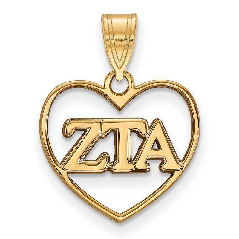 GP008ZTA: Sterling Silver w/GP LogoArt Zeta Tau Alpha Heart Pendant