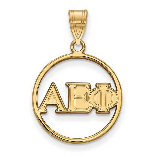 GP011AEP: SS w/GP LogoArt Alpha Epsilon Phi Small Circle Pendant