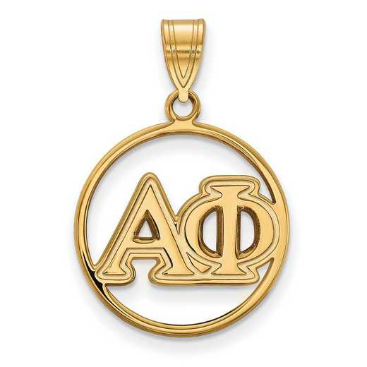 GP011APH: Sterling Silver w/GP LogoArt Alpha Phi Medium Circle Pendant