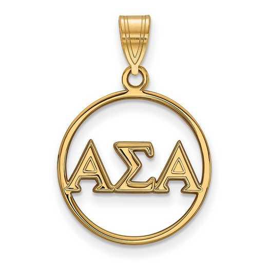 GP011ASI: SS w/GP LogoArt Alpha Sigma Alpha Small Circle Pendant