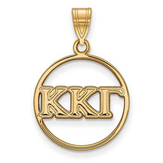 GP011KKG: SS w/GP LogoArt Kappa Kappa Gamma Medium Circle Pendant