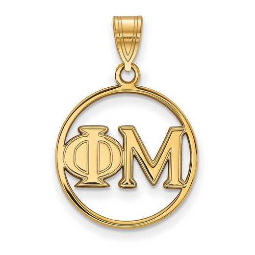 GP011PHM: Sterling Silver w/GP LogoArt Phi Mu Medium Circle Pendant