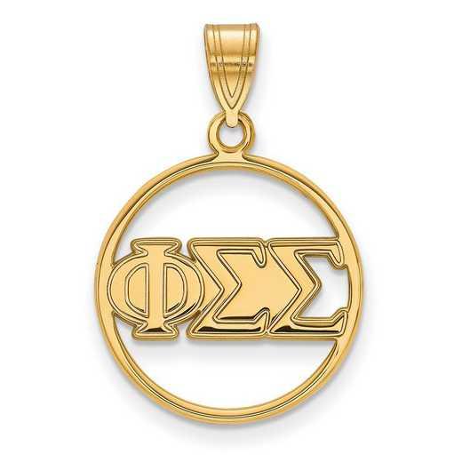 GP011PSS: SS w/GP LogoArt Phi Sigma Sigma Medium Circle Pendant