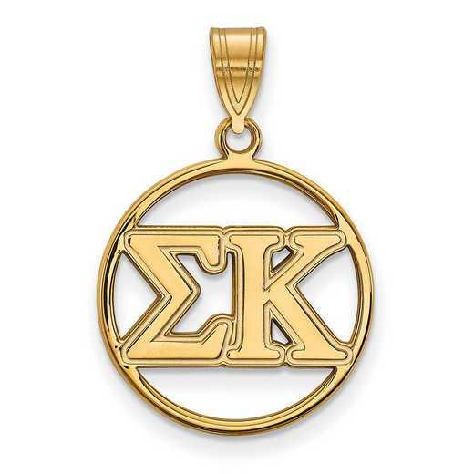 GP011SKP: Sterling S. w/GP LogoArt Sigma Kappa Medium Circle Pendant
