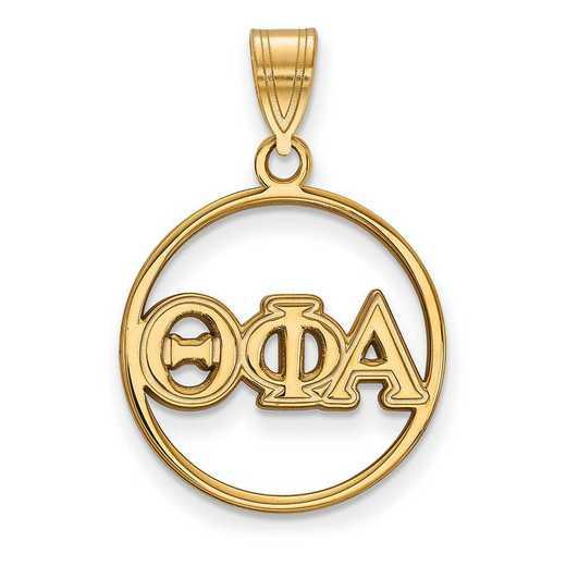 GP011TPA: SS w/GP LogoArt Theta Phi Alpha Medium Circle Pendant