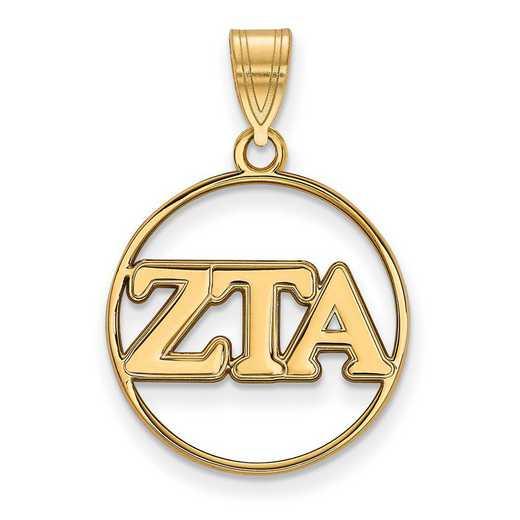 GP011ZTA: SS w/GP LogoArt Zeta Tau Alpha Medium Circle Pendant