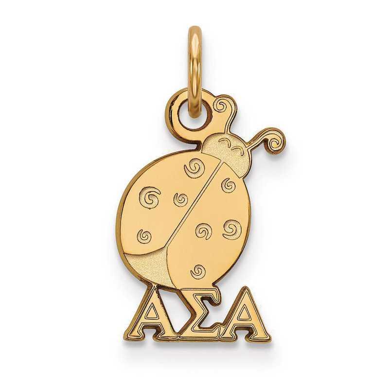 GP034ASI: Sterling Silver w/GP LogoArt Alpha Sigma Alpha XS Pendant