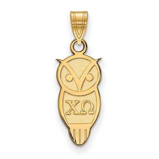 GP035CHO: Sterling Silver w/GP LogoArt Chi Omega Small Pendant