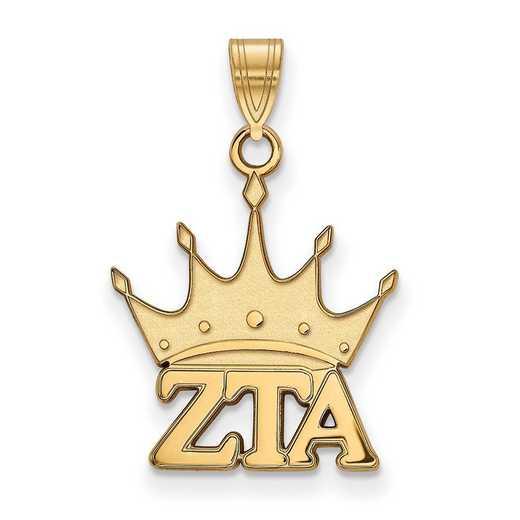 GP035ZTA: Sterling Silver w/GP LogoArt Zeta Tau Alpha Small Pendant