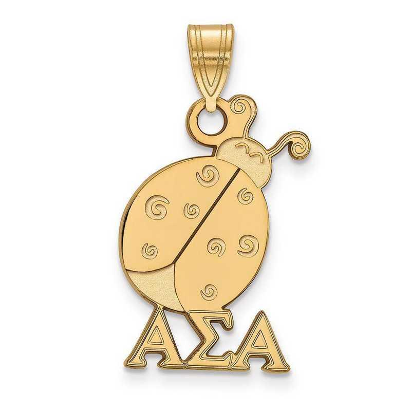 GP036ASI: SterlingSilver w/GP LogoArt Alpha Sigma Alpha Medium Pendant