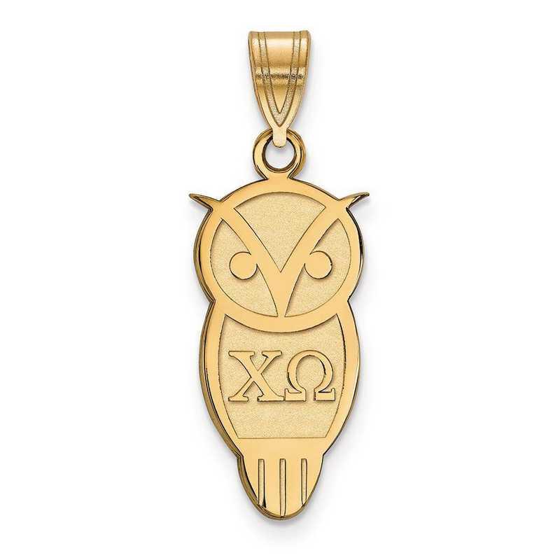 GP036CHO: Sterling Silver w/GP LogoArt Chi Omega Medium Pendant