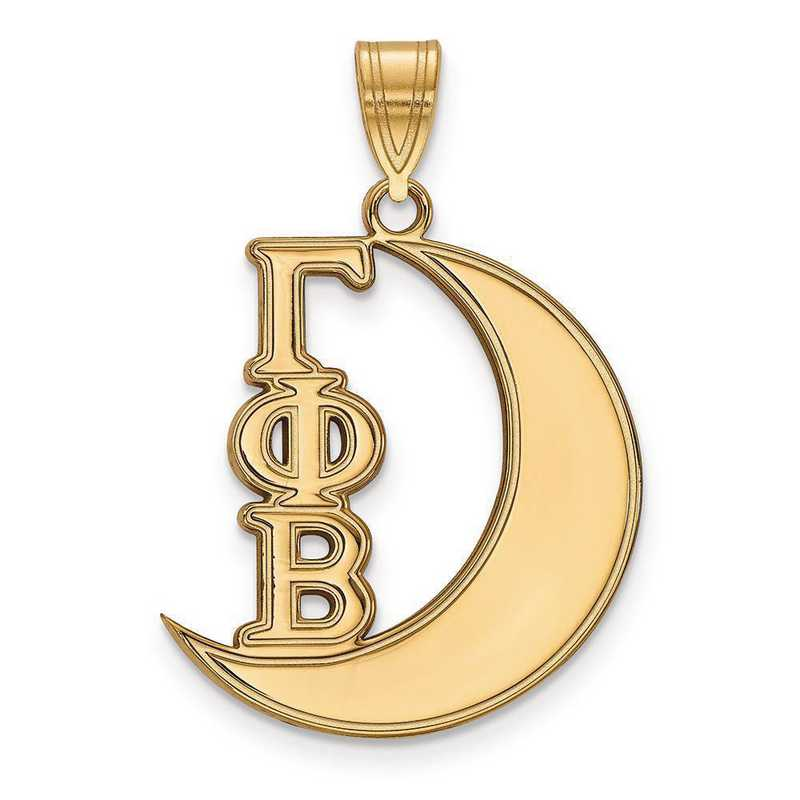GP036GPB: Sterling Silver w/GP LogoArt Gamma Phi Beta Medium Pendant