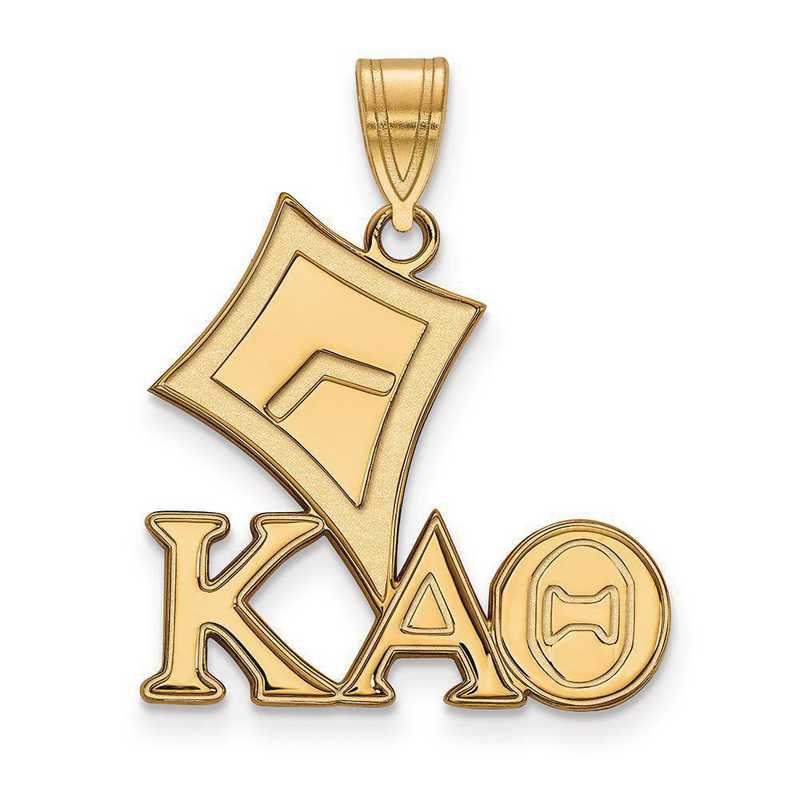 GP036KAT: SterlingSilver w/GP LogoArt Kappa Alpha Theta Medium Pendant