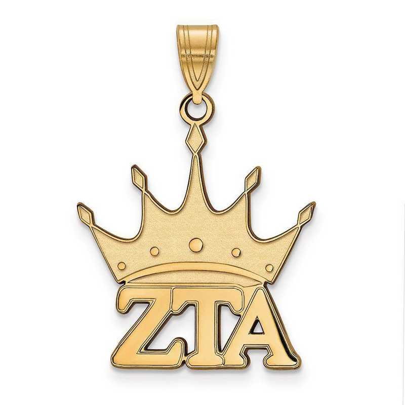 GP036ZTA: Sterling Silver w/GP LogoArt Zeta Tau Alpha Medium Pendant