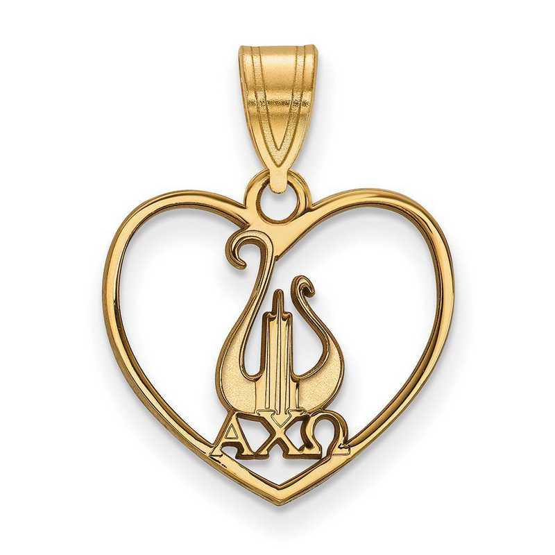 GP040ACO: Sterling Silver w/GP LogoArt Alpha Chi Omega Heart Pendant