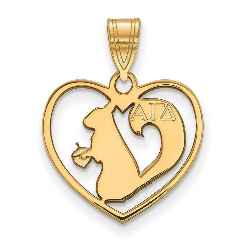 GP040AGD: Sterling Silver w/GP LogoArt Alpha Gamma Delta Heart Pendant