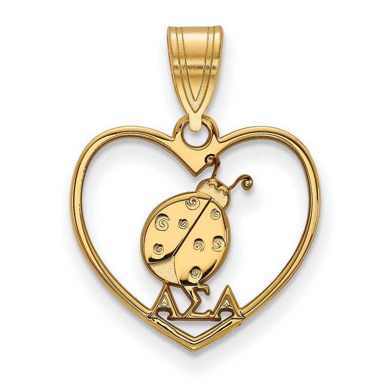 GP040ASI: Sterling Silver w/GP LogoArt Alpha Sigma Alpha Heart Pendant