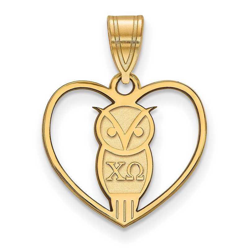 GP040CHO: Sterling Silver w/GP LogoArt Chi Omega Heart Pendant