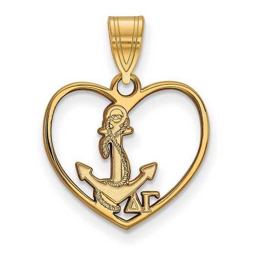 GP040DG: Sterling Silver w/GP LogoArt Delta Gamma Heart Pendant