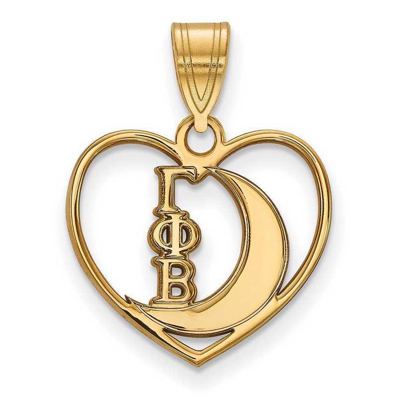 GP040GPB: Sterling Silver w/GP LogoArt Gamma Phi Beta Heart Pendant
