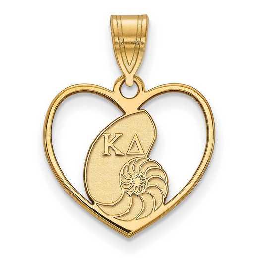 GP040KD: Sterling Silver w/GP LogoArt Kappa Delta Heart Pendant