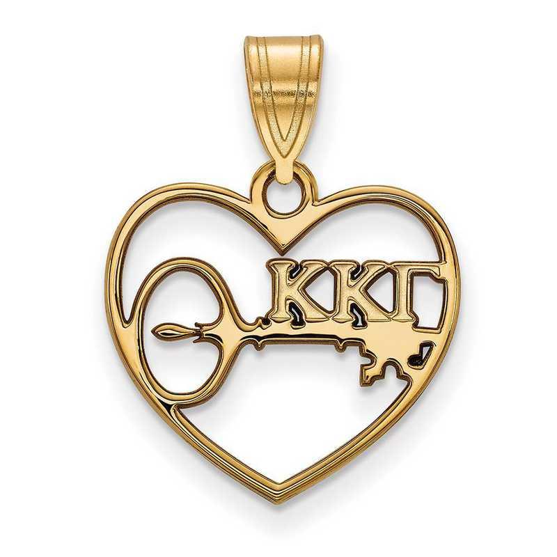 GP040KKG: Sterling Silver w/GP LogoArt Kappa Kappa Gamma Heart Pendant
