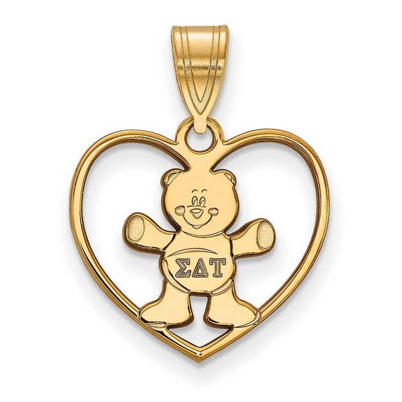 GP040SDT: Sterling Silver w/GP LogoArt Sigma Delta Tau Heart Pendant