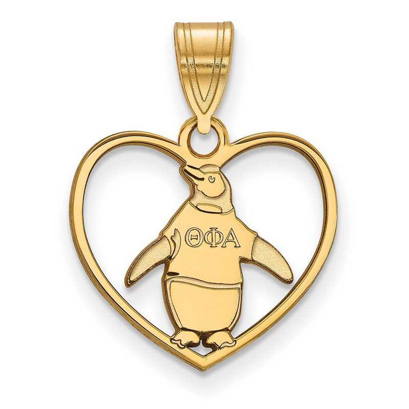 GP040TPA: Sterling Silver w/GP LogoArt Theta Phi Alpha Heart Pendant