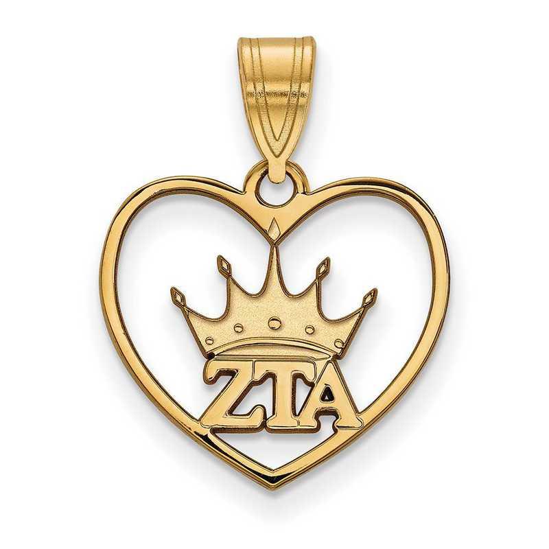 GP040ZTA: Sterling Silver w/GP LogoArt Zeta Tau Alpha Heart Pendant